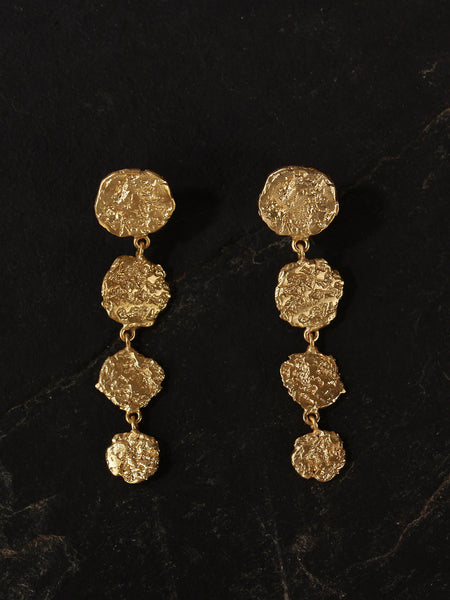 Gold Plated Disc Drop Danglers