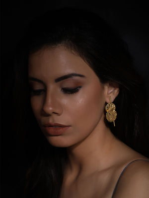 Gold Plated Double Disc Long Studs