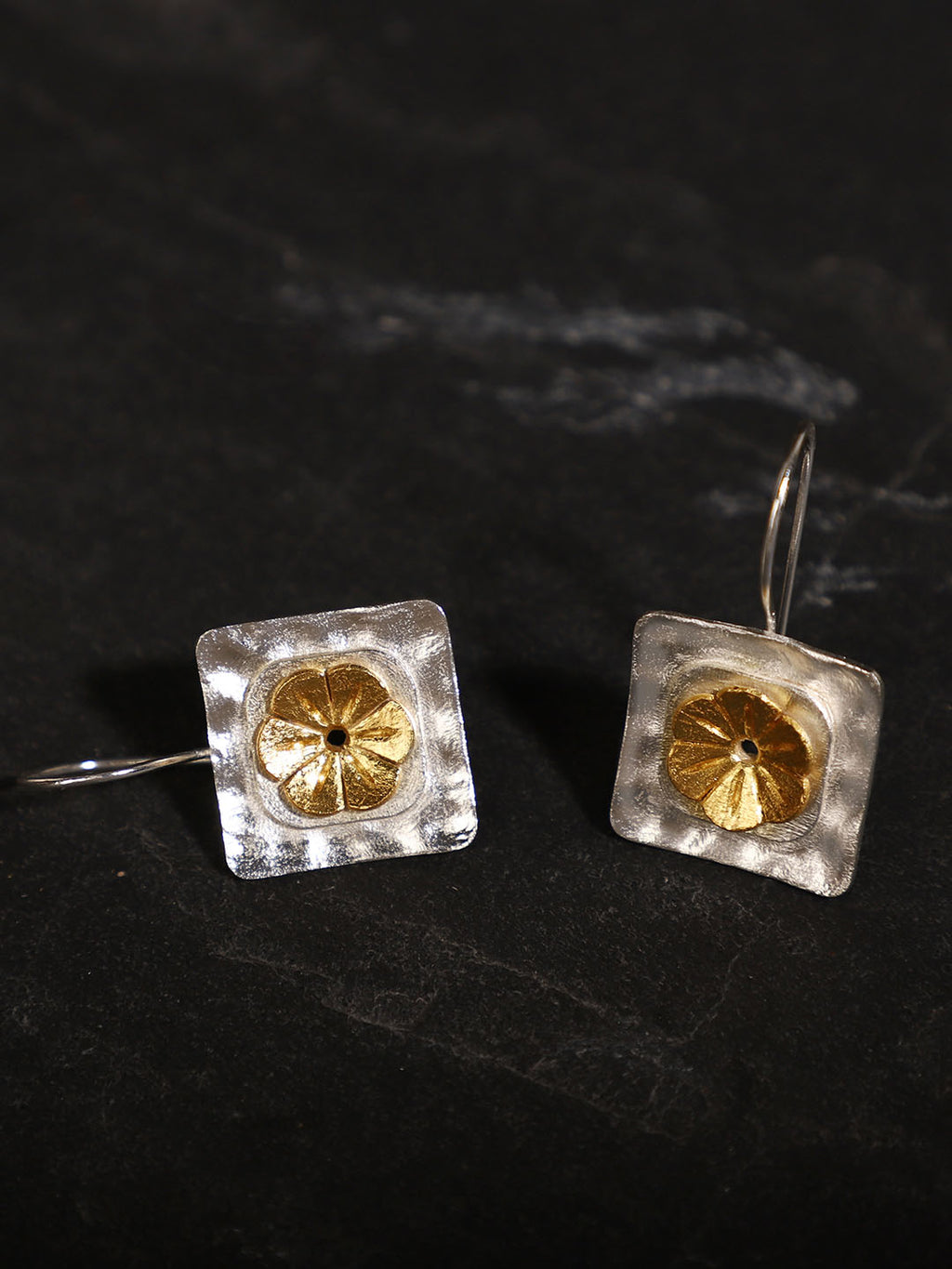 Gold-Silver Plated Geometric Floral Loops