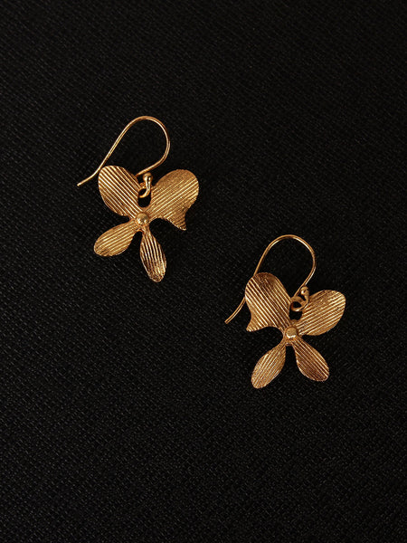 Gold Plated Asymmetric Floral Loops