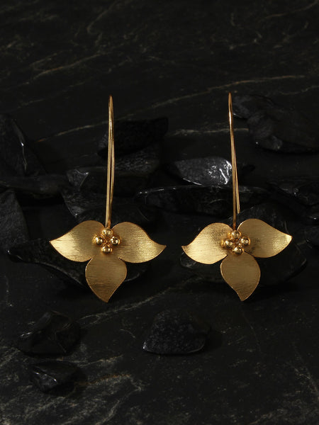 Gold Plated Inverted Floral Long Loops