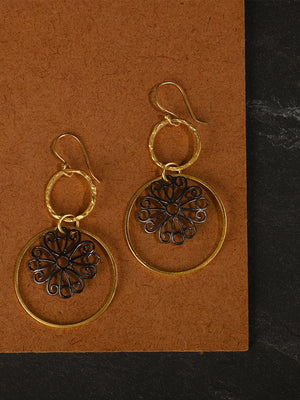 Gold Plated Carved Danglers