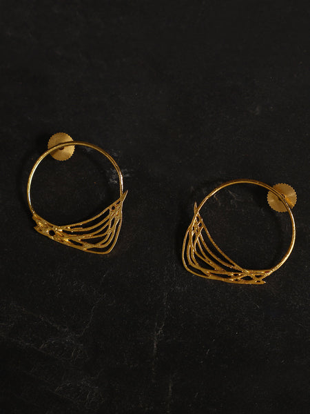 Gold Plated Abstract Ring Studs