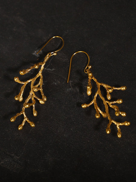 Gold Plated Vine Cluster Loops
