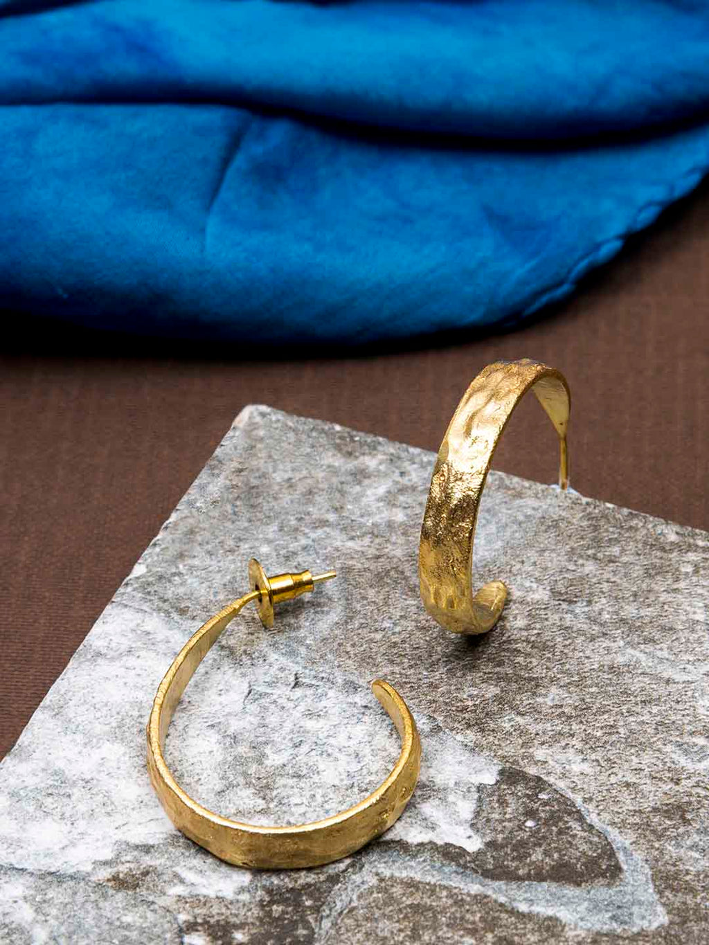 Gold Plated Oval Half Hoops