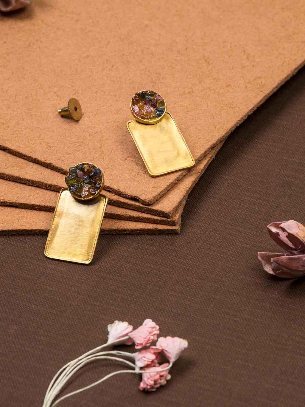 Gold Plated Tourmaline Rectangular Studs