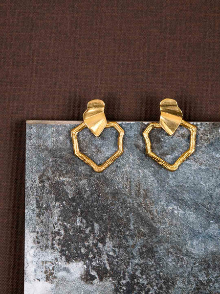 Gold Plated Asymmetric Cut Out Studs