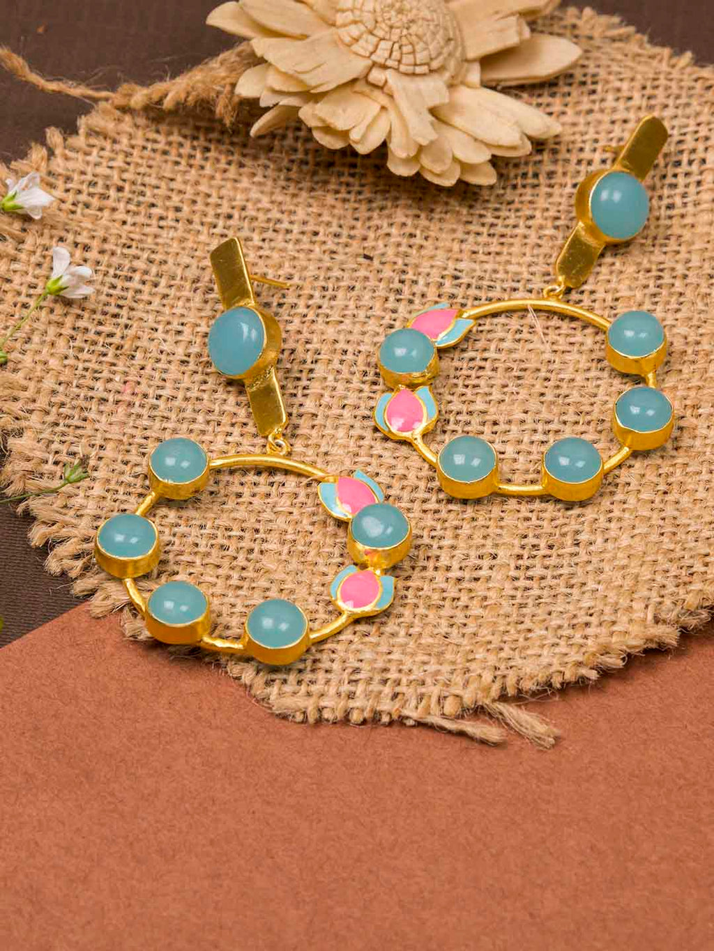 Gold Plated Enamel Stone Danglers
