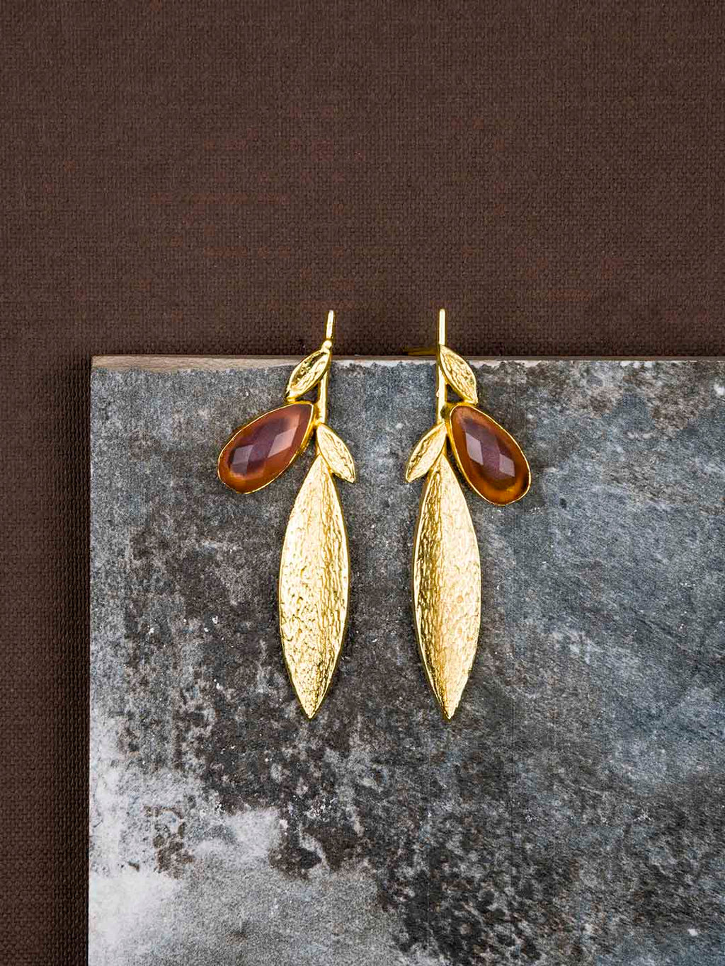 Gold Plated Stone Leaf Studs - Carnelian