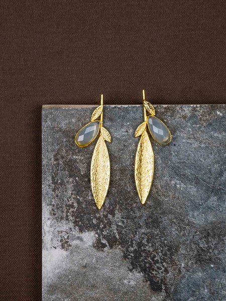 Gold Plated Stone Leaf Studs - Aqua