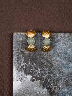 Gold Plated Moonstone Half Hoops