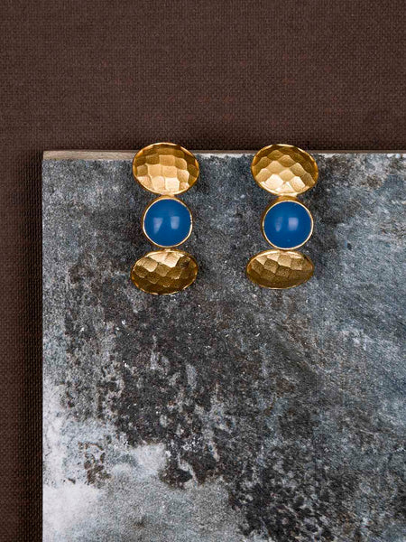 Gold Plated Lapis Half Hoops