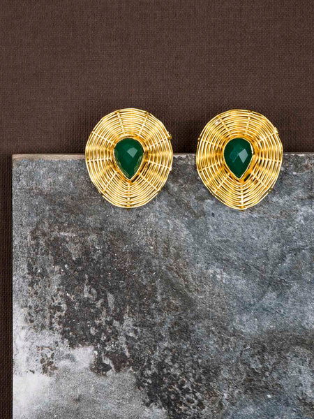 Gold Plated Jade Teardrop Studs