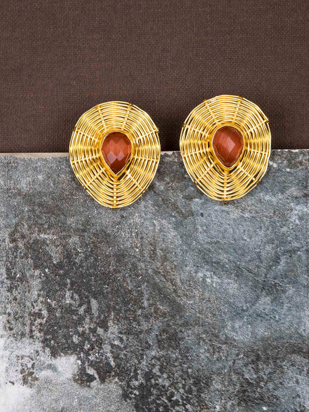 Gold Plated Carnelian Teardrop Studs