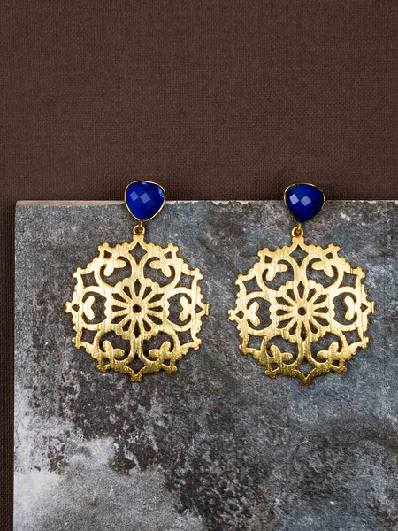 Gold Plated Lapis Carved Drop Danglers