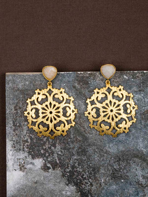 Gold Plated Moonstone Carved Drop Danglers