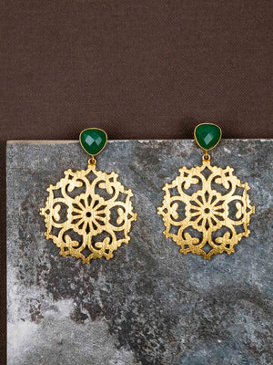 Gold Plated Jade Carved Drop Danglers