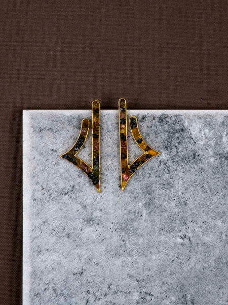 Gold Plated Tourmaline Notes Studs