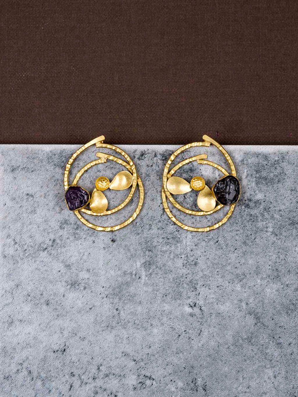 Gold Plated Victorian Amethyst Studs