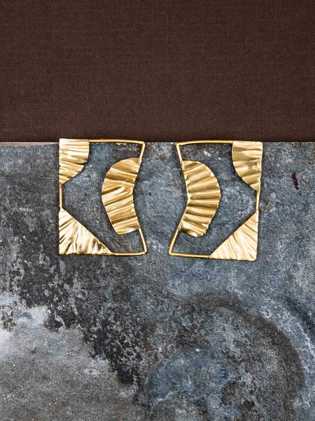 Gold Plated Abstract Rectangular Studs