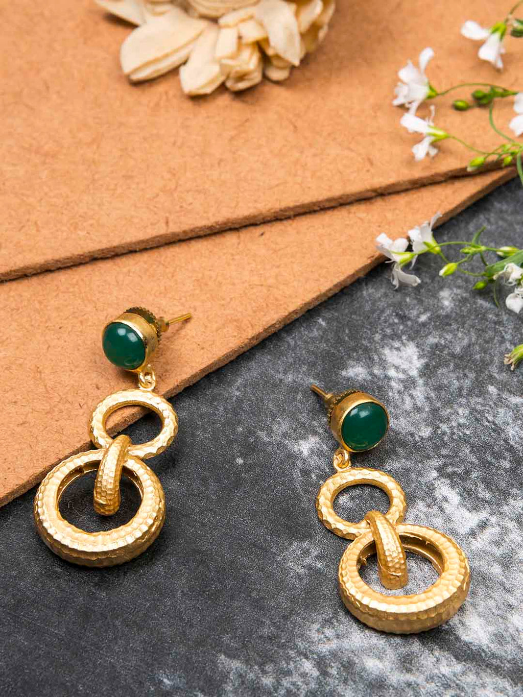 Gold Plated Jade Double Loop Danglers