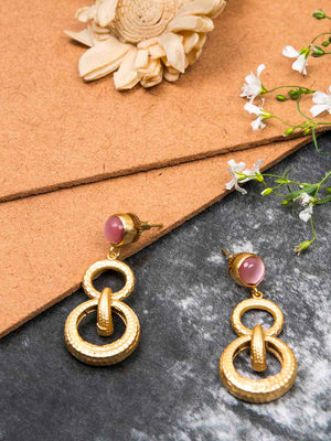 Gold Plated Rose Quartz Double Loop Danglers