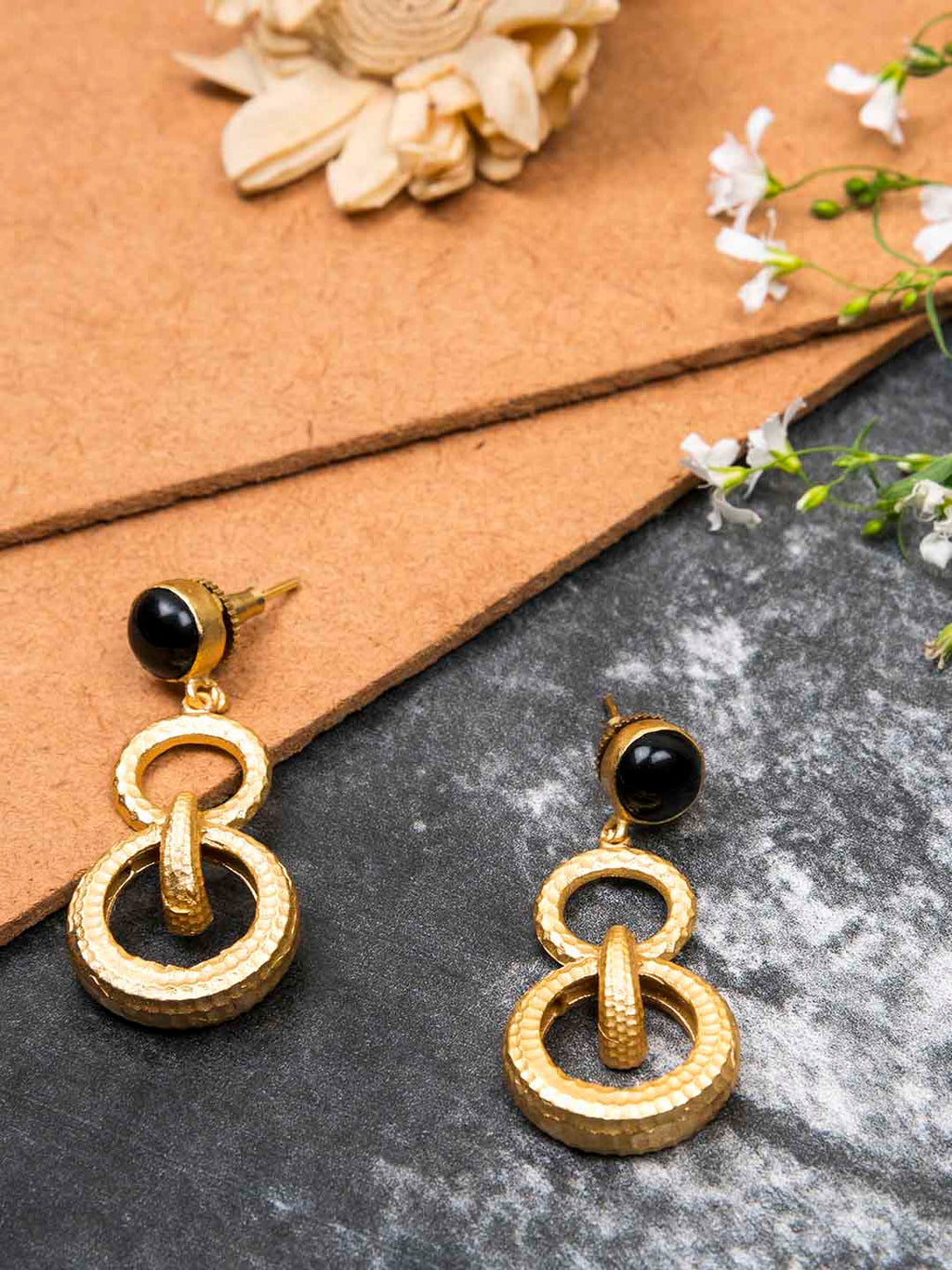 Gold Plated Onyx Double Loop Danglers