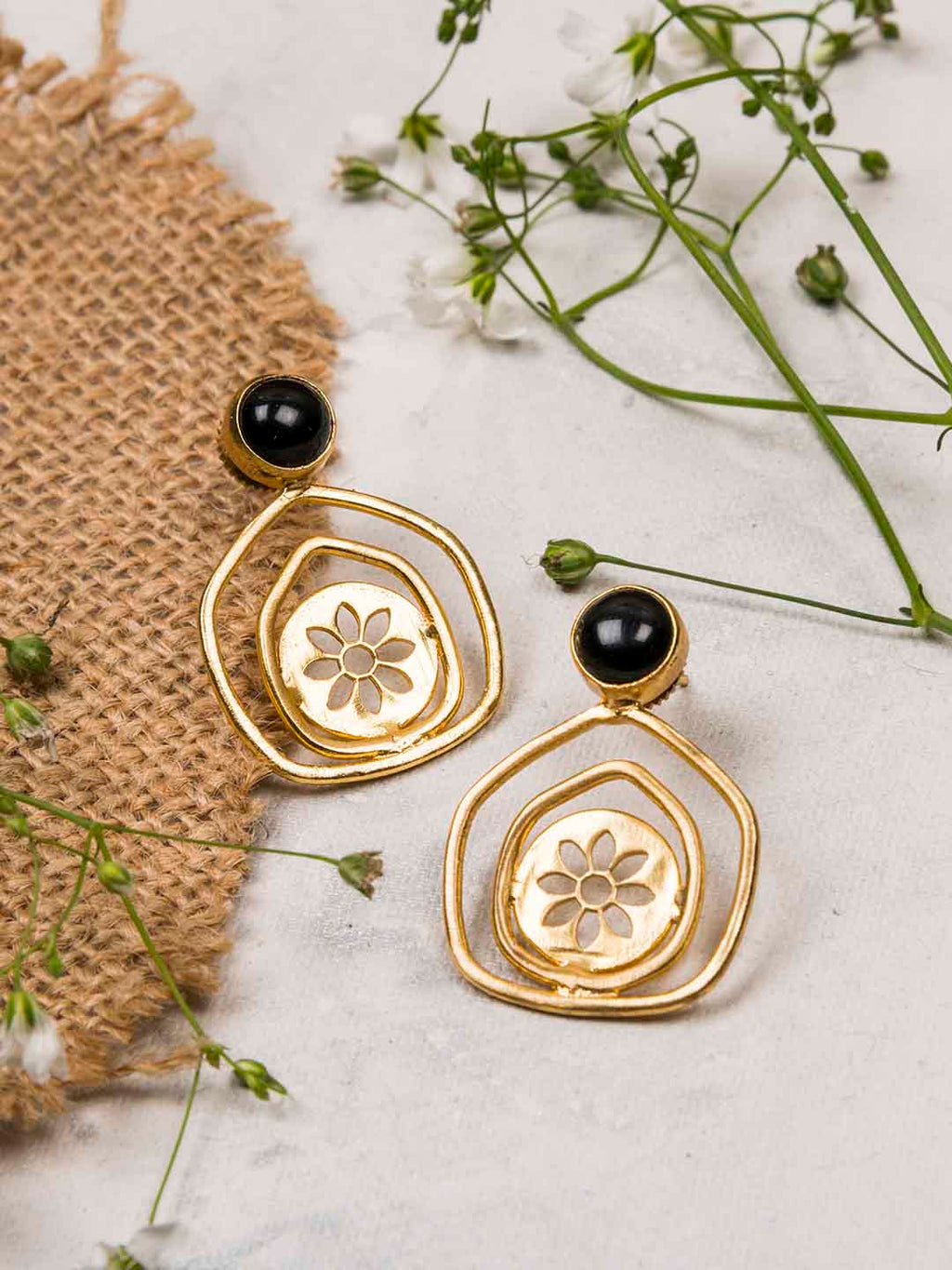 Gold Plated Onyx Pentagon Studs