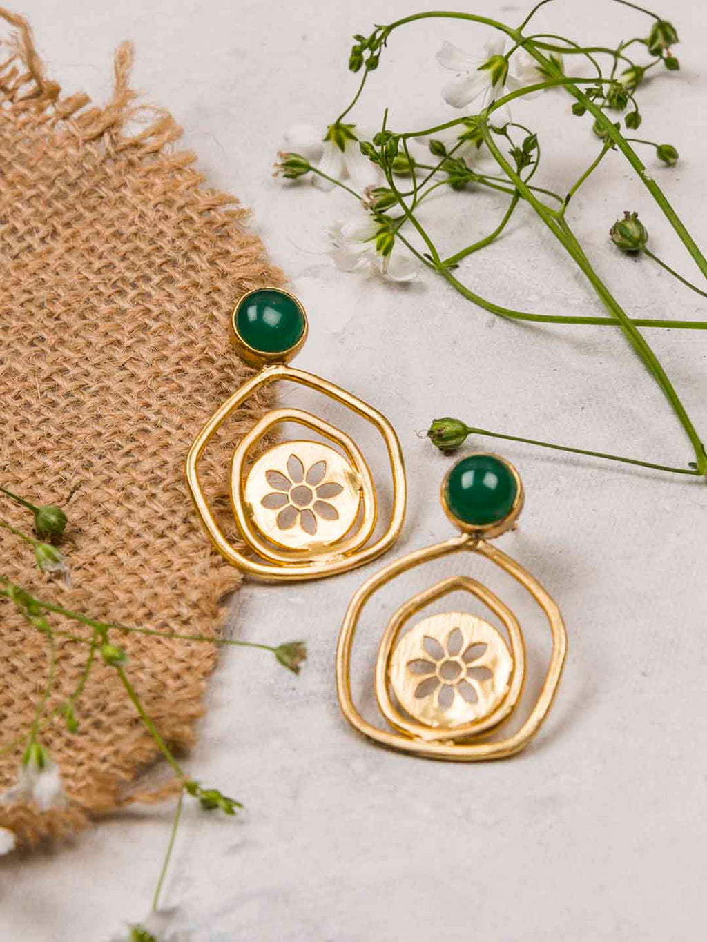 Gold Plated Jade Pentagon Studs