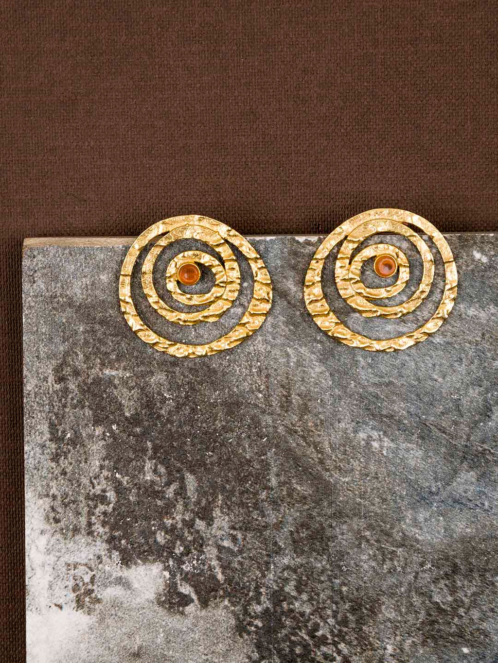 Gold Plated Carnelian Spiral Studs
