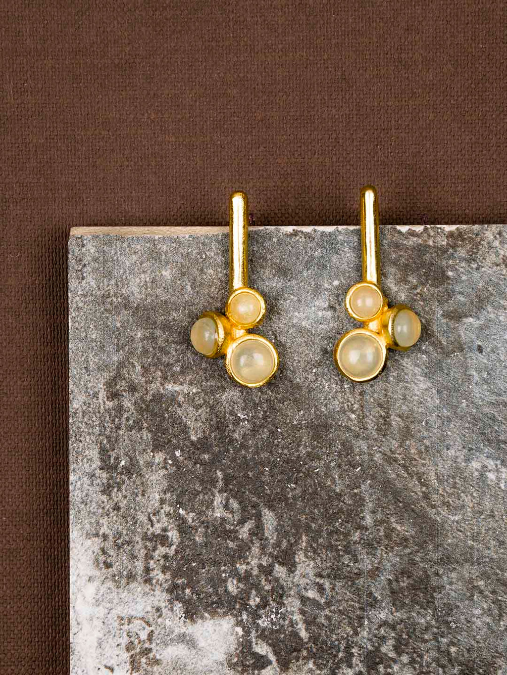 Gold Plated Moonstone Stem Studs