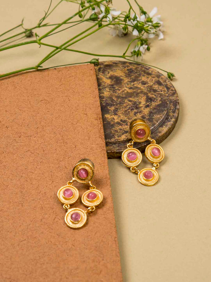 Gold Plated Rhombus Rose Quartz Studs