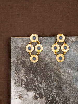 Gold Plated Rhombus Moonstone Studs