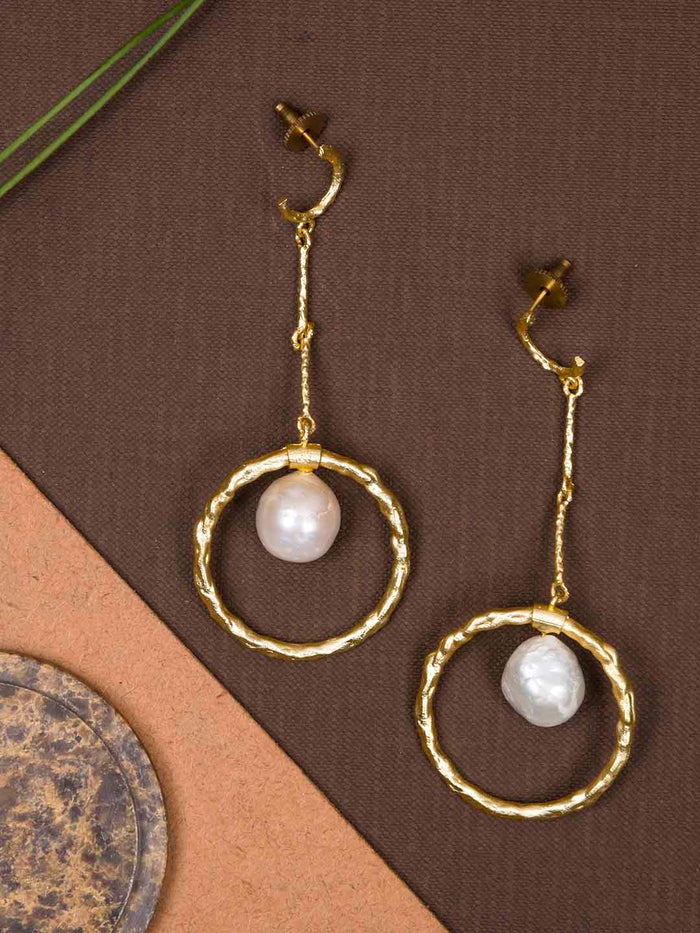 Gold Plated Mother of Pearl Drop Danglers