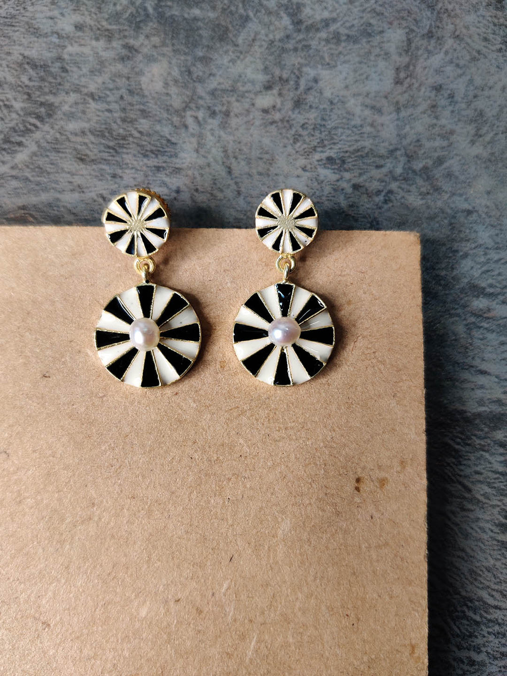 Gold Plated Double Wheel Drop Earrings