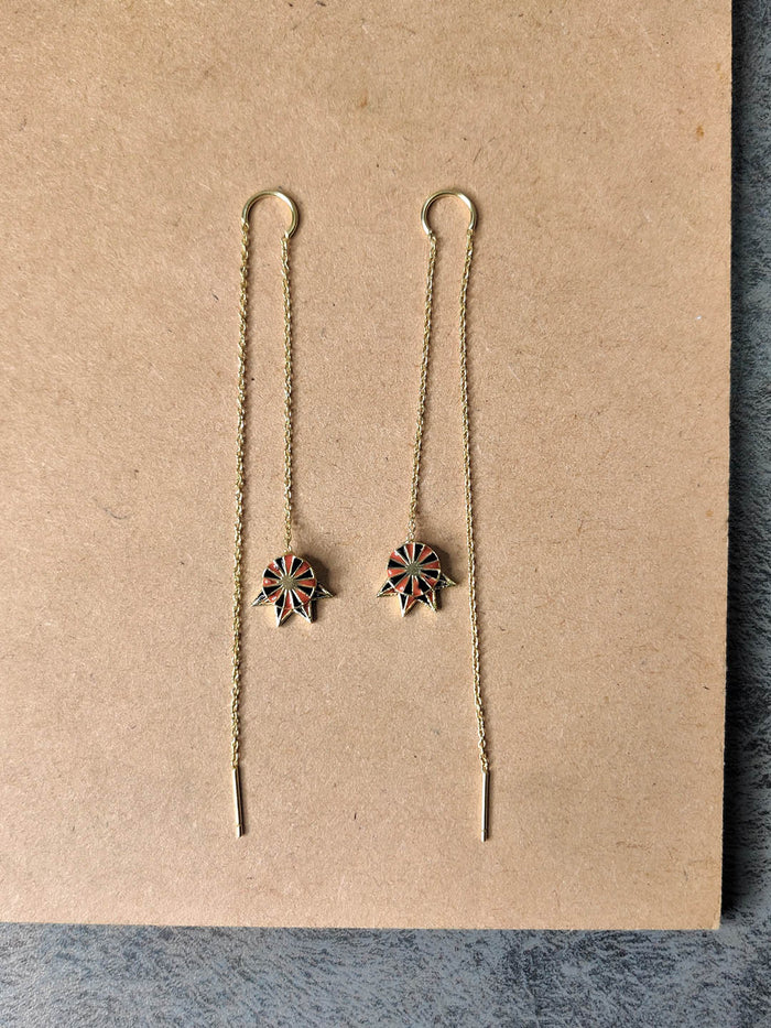 Gold Plated Marsala Long Drop Earrings