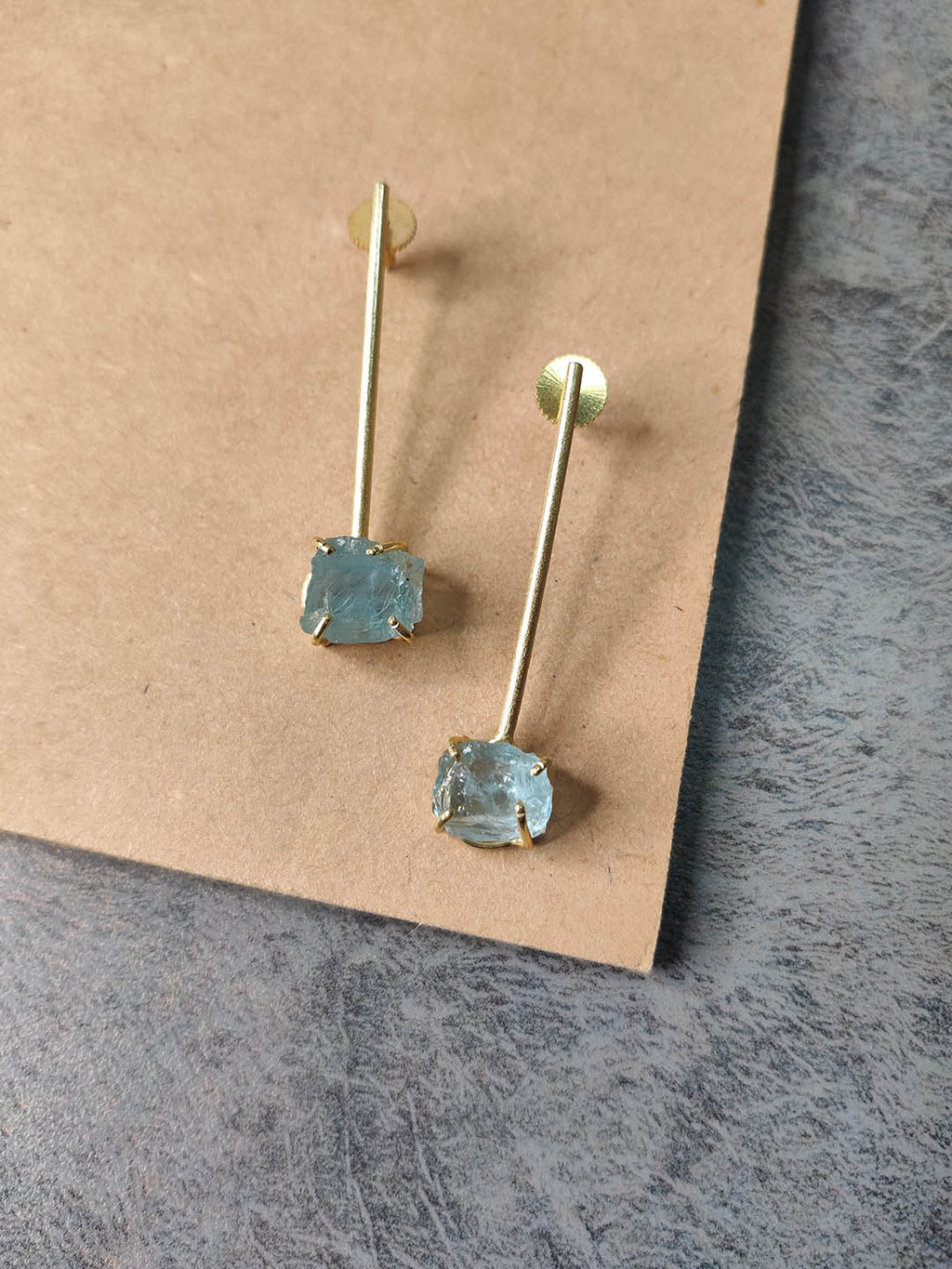 Gold Plated Aqua Stick Studs