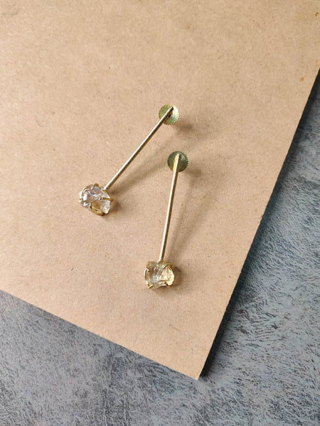 Gold Plated Citrine Stick Studs