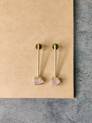 Gold Plated Rose Quartz Stick Studs
