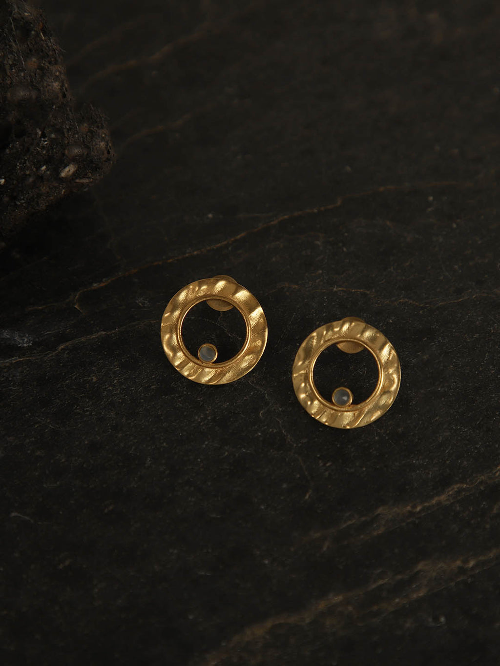 Gold Plated Moonstone Ring Studs