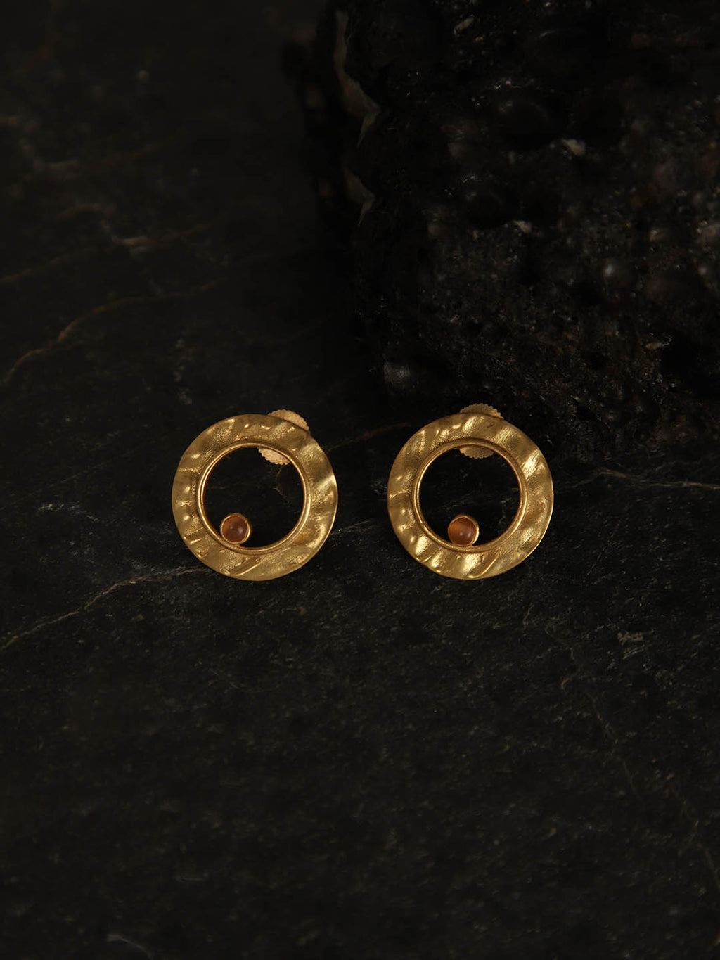 Gold Plated Carnelian Ring Studs