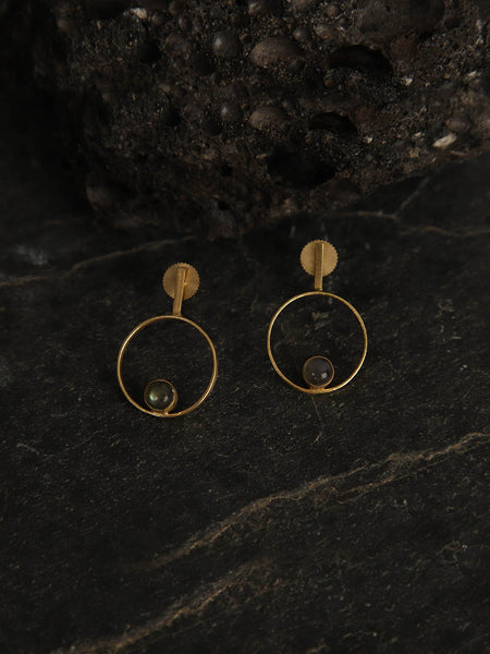 Gold Plated Labrodorite Ring Studs