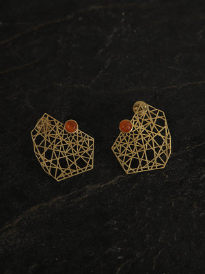 Gold Plated Carnelian Mesh Studs