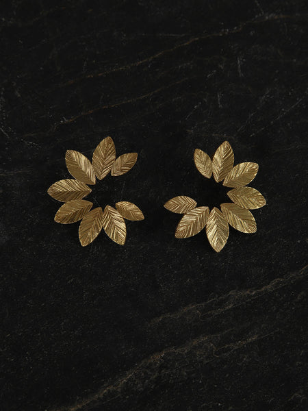 Gold Plated Floral Arc Studs