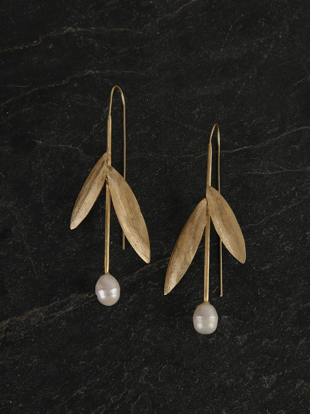 Gold Plated Leaf Pearl Drop Danglers