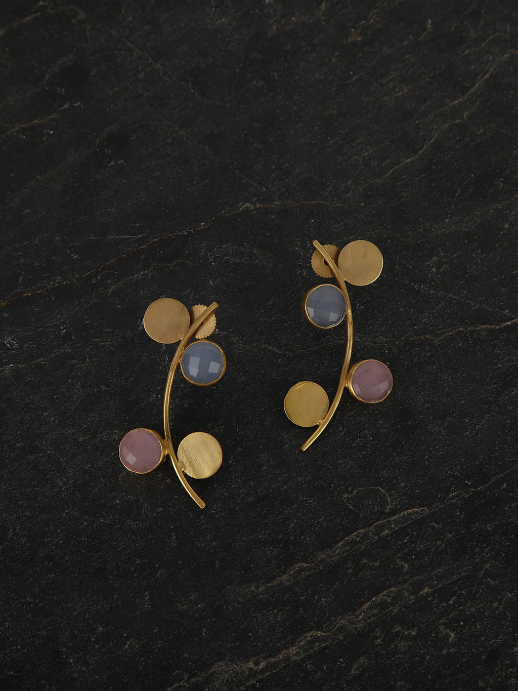 Gold Plated Multistone Disc Studs