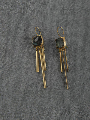 Gold Plated Labrodorite Tassel Loops