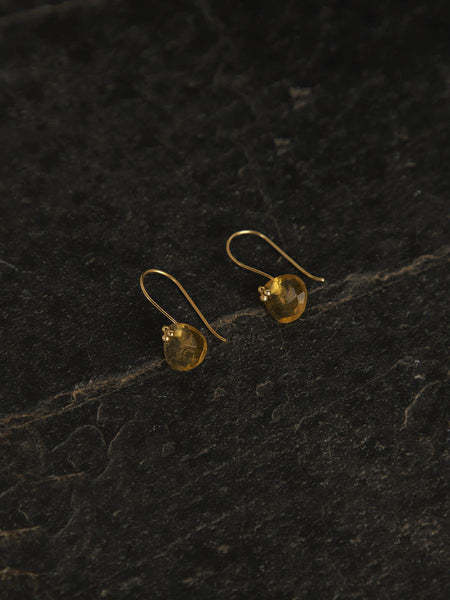 Gold Plated Citrine Drop Loops