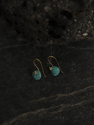 Gold Plated Turquoise Drop Loops