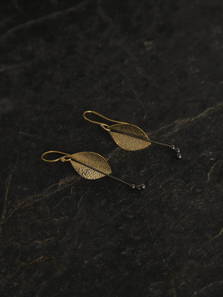 Gold Plated Leaf Loops